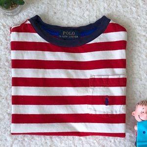 Ralph Lauren Red & White Striped Shirt Boys Size 7
